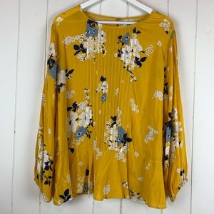 Old Navy Babydoll Blouse XL Floral Yellow